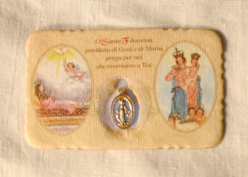 St. Philomena Miraculous Medal Small Prayer Card