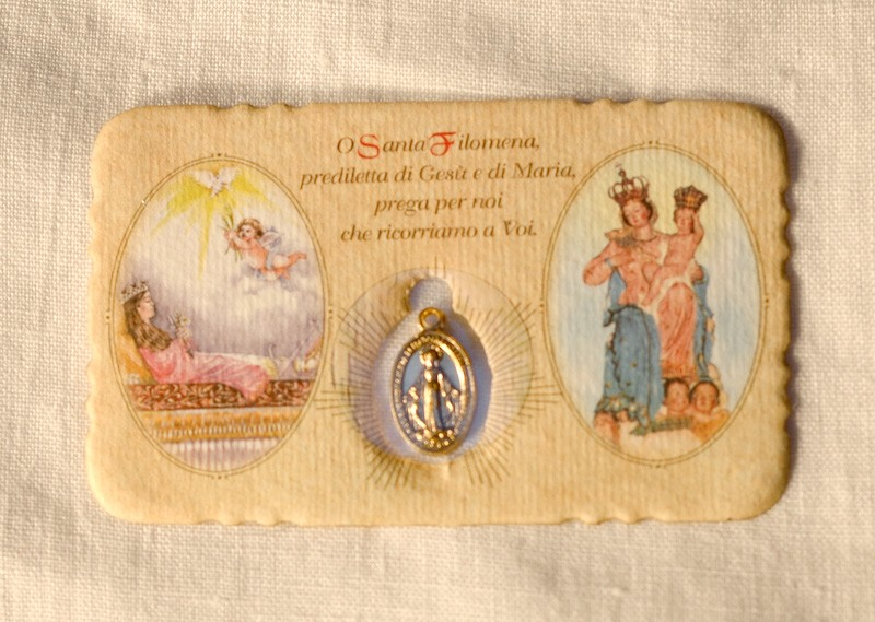 St. Philomena Miraculous Medal Small Prayer Card