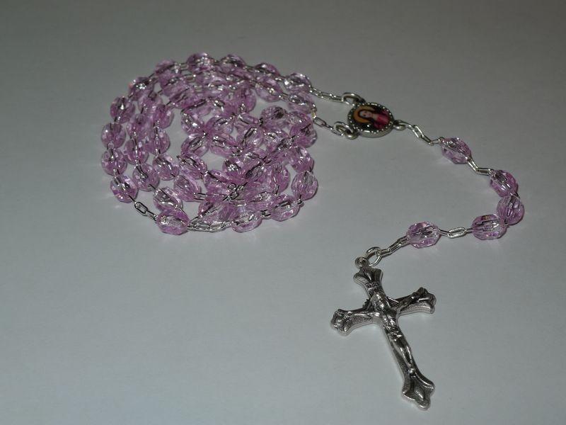 Rosary Beads St. Philomena Pink