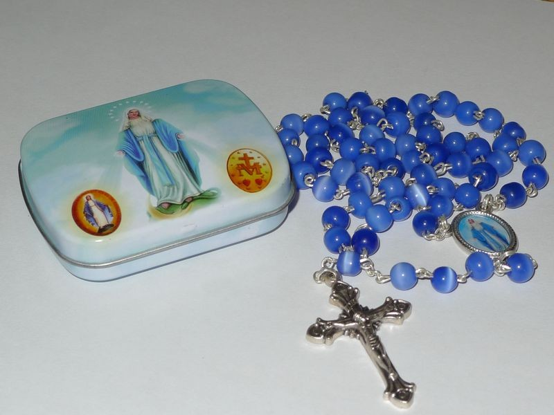 Our Lady of Lourdes Rosary Beads Blue