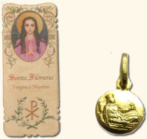 St. Philomena medal and bookmark set