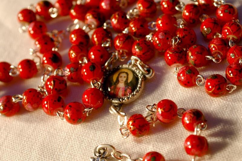 Rosary Beads St. Philomena Red