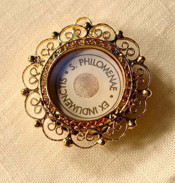 St. Philomena 2nd Class Relic in Filigree Case