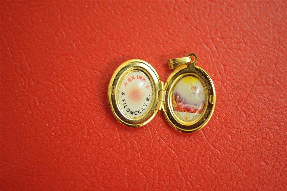 St. Philomena Relic Locket Oval Shaped